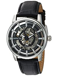 Invicta Men's 'Objet d'Art' Automatic Stainless Steel and Leather Casual Watch, Color:Black (Model: 22641)