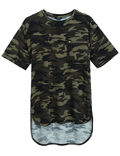 Hot Coofandy Mens Summer Hipster Hip Hop Camo-Camouflage T Shirts Longline Tee with Zipper Pocket