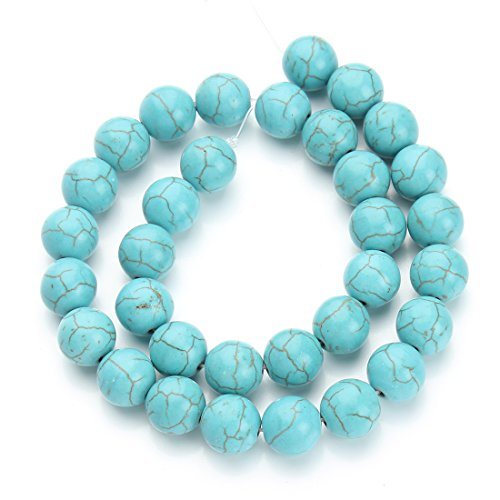 Linsoir Beads Blue Round Turquoise Beads Natural Gemstone Stone Jewelry Beads-40cm/strand 10MM