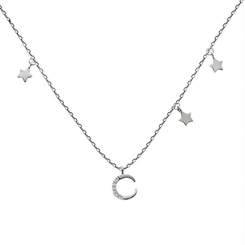 Amazon.com  ZLXPRO Crescent Moon Star Choker 925 Sterling Silver Necklace  CZ Pendant Celestial Jewelry for Women 16