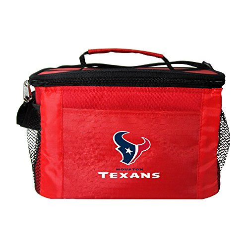 NFL Houston Texans Insulated Lunch Cooler Bag with Zipper Closure, Red