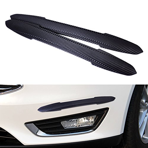 beler 2pcs 44cm Black Carbon Fiber Rubber Car Front Rear Body Bumper Trim Sticker Edge Protector Corner Guard Anti-Collision