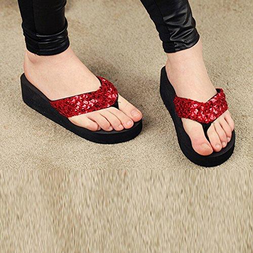 TOOGOO(R) Neue Pantoffeln weibliche Pantoffeln Keile Plattform Aufzug rutschfeste paillette Strand Flip Flops US Groesse 5 schwarz Rot