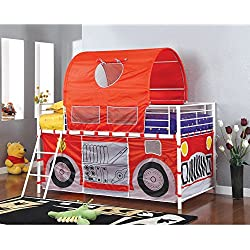 Furniture of America Florenzia Twin Loft Bed with Tent Playhouse Red
