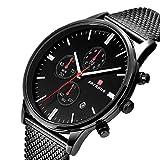 FAERDUO Men's Sports Watch Luxury Business Casual Steel Belt Men's Watch Waterproof Fashion Quartz Watch (Black)