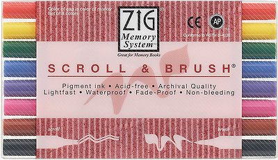 - ZIG Memory System Scroll & Brush Marker Set Of 8