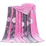 Rose Pattern Children Air Conditioning Blanket Siesta Blanket Towel Coral Carpet