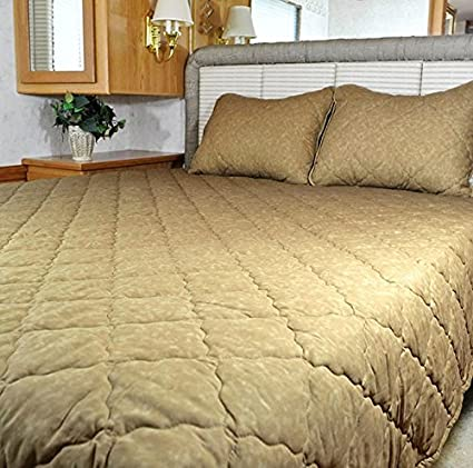 AB Lifestyles Simplicity 3 Piece Desert Sand Bedspread Set 72X75 Short King for Campers, RVs, Travel Trailers and Motorhomes Allyson Brooke Inc.