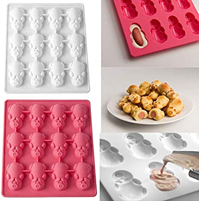 Amazon.com: Weite Multifunction 12 Little Pigs in a Blanket Silicone Baking Molds - Cute White Pink Piggy Cake Mould for Chocolate, Candy, ...