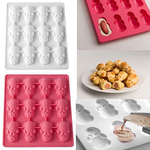 Hide on Bush Silicone Bakeware Mold for Cake Chocolate Jelly Pudding Dessert Molds 12 Pigs Shape Holes Set Baking Tool, 4