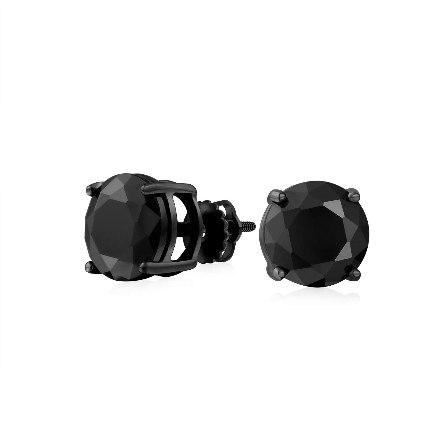 49cfe205c09b0 .75CT Black On Black Round Solitaire Cubic Zirconia Stud Earrings For Men  Women CZ Screw Back Plated 925 Sterling Silver