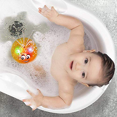 Agedate Baby Bath Toys, Water Spray Toys for Baby Kids Toddlers, LED Light Up Toys Interactive Sprinkler Bathtub Toys Bath Squirt Toys Mini Fountain Toy Baby Toys Ideal Xmas Gifts Boys Girls (Yellow)