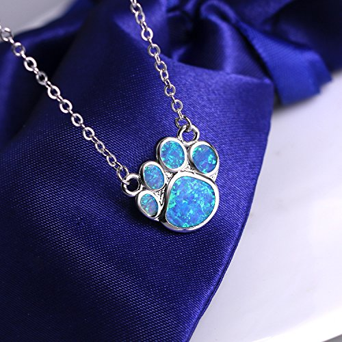 KELITCH Puppy Footprint Pendant Necklace Shiny Created Opal Y Shape Choker Necklace Gift for Friends (Blue) by KELITCH (Image #1)