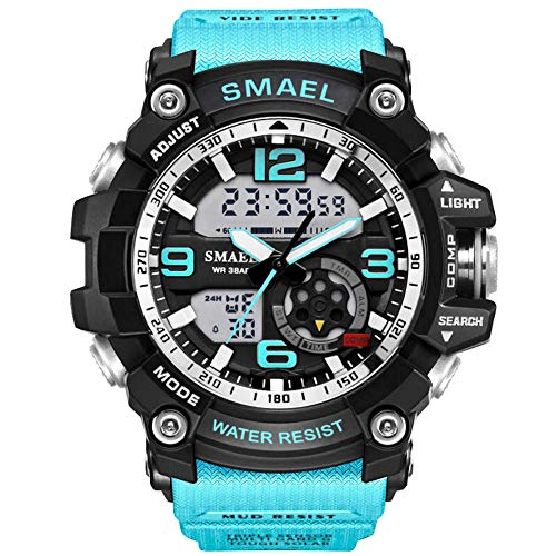 KXAITO Mens Digital LED Sports Watch Military Multifunction Dual Time Alarm Countdown Stopwatch 12H/24H Time Backlight 164FT 50M Water Resistant Calendar Month Date Day Watch (Lake_Blue)