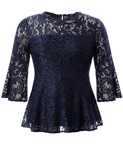 Romantic Top Lace - Chicwe Women's Plus Size Stretch Romantic Lace Peplum Top with Scalloped Neck & Flare Sleeves Navy 4X