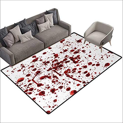 Horror Non-Slip Floor mat Splashes of Blood Grunge Style Bloodstain Horror Scary Zombie Halloween Themed Print 70