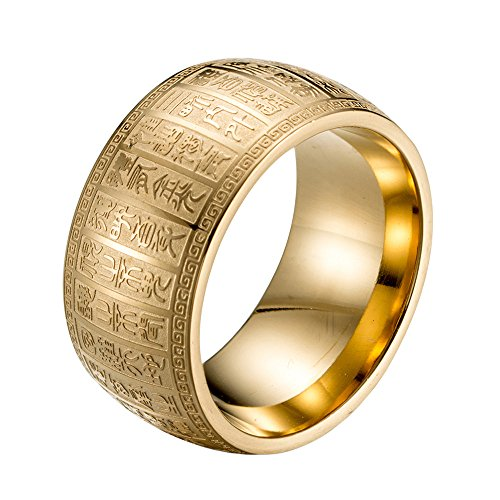 INRENG Men's Stainless Steel 11MM Wide Mantra Ring Ancient Chinese Engraved Amulet Biker Band Gold Size 10 -