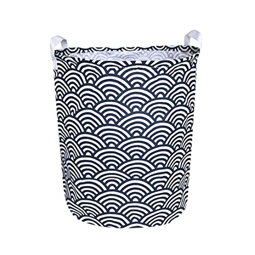 Woshishei 50 40cm(62L) Large Sized Animal Cartoon Folding Cylindric Waterproof Coating Canvas Fabric Laundry Hamper Storage Basket (Cloud)