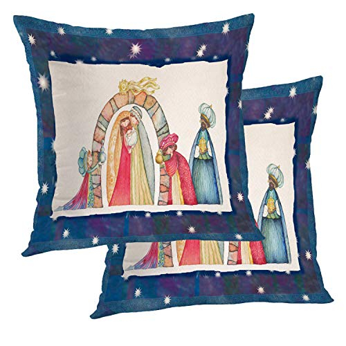 BaoNews Christmas Pillow Covers, Christmas Nativity Scene Jesus Mary Baby Art Birth Square 18 x 18 Inches Decorative Throw Pillow Covers Cotton Cushion for Sofa Bedroom Car, Gold, Set of 2
