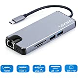 Linkwin USB C Hub, Type C Adapter,Thunderbolt 3 to 4K HDMI Hub Docking Converter with USB 3.0, Micro SD/TF Card Reader, VGA Port, Enthernet Port for New MacBook Pro,Chromebook, Projector, USB-C Device