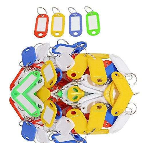 Ylyycc 50 Pieces Packaged Plastic Id Tags Name Card Label Keychains