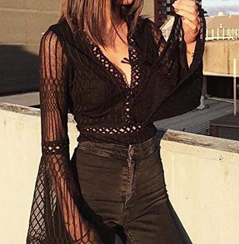 Kankanluck 女性ロンパースセクシー中空フレアネット糸Vネックファッションボディスーツ