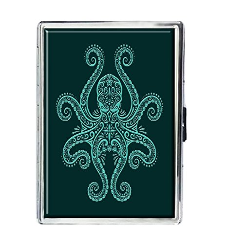 Kraken Octopus Design Stainless Steel ID Cigarettes Case Holder Stylish covid 19 (Id Credit Card Cigarette Case coronavirus)