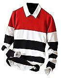 OnIn Fashion Mens Stripe Lightweight Slim Fit Autumn Knit Pullovers Sweaters RedUS Medium
