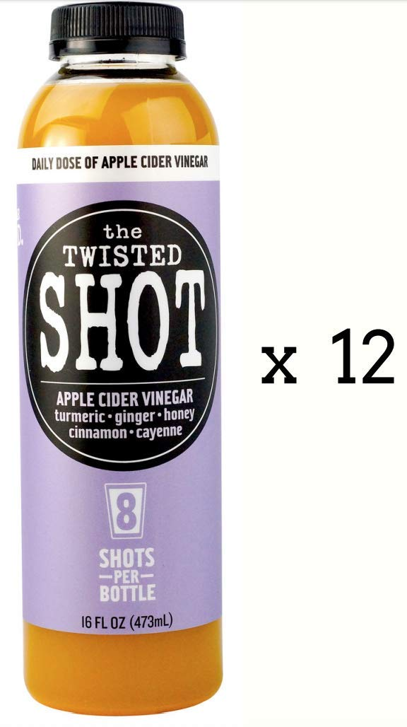 The Twisted Shot - 16oz bottle (12 PACK) - Daily shot of Apple Cider Vinegar with Turmeric, Ginger, Cinnamon & Cayenne - 100% Organic - 8 shots/bottle