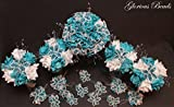 Turquoise and White Beaded Lily Wedding Flower 17 piece set with White Roses ~ Unique French beaded flowers and beaded sprays