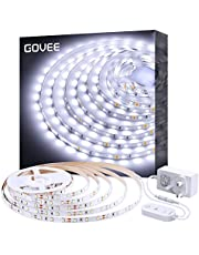 White LED Strip Lights, Govee Upgraded Dimmable Cool White 5 Metre Lighting Kit, Daylight White 6500K Rope Lights for Vanity Mirror, Under Cabinet, Kitchen, Shelf Closet Showcase with UK Plug
