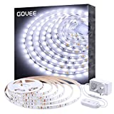 White LED Strip Lights, Govee Upgraded Dimmable Cool White 5 Metre Lighting Kit, Daylight White 6000K Rope Lights for Vanity Mirror, Under Cabinet, Kitchen, Shelf Closet Showcase with UK Pl