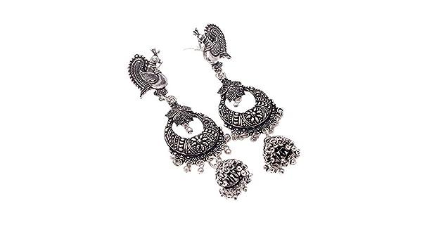 Jewar Earrings Oxidized Silver Plated Peacock Design Polki Jhumka Jhumki Jewelry For Women /& Girls 7976