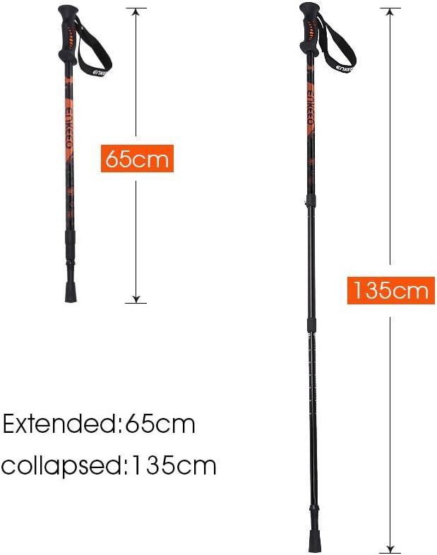 ENKEEO Trekkingst/öcke Wanderst/öcke verstellbare Teleskopst/öcke f/ür Trekking und Wanderungen 65cm 135cm,1 Paar