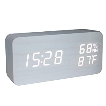 GANGHENGYU Reloj de Alarma de Madera LED Temperatura Digital y Humedad Escritorio de Oficina Electrónico Reloj de Viaje de Decoración del Dormitorio con ...