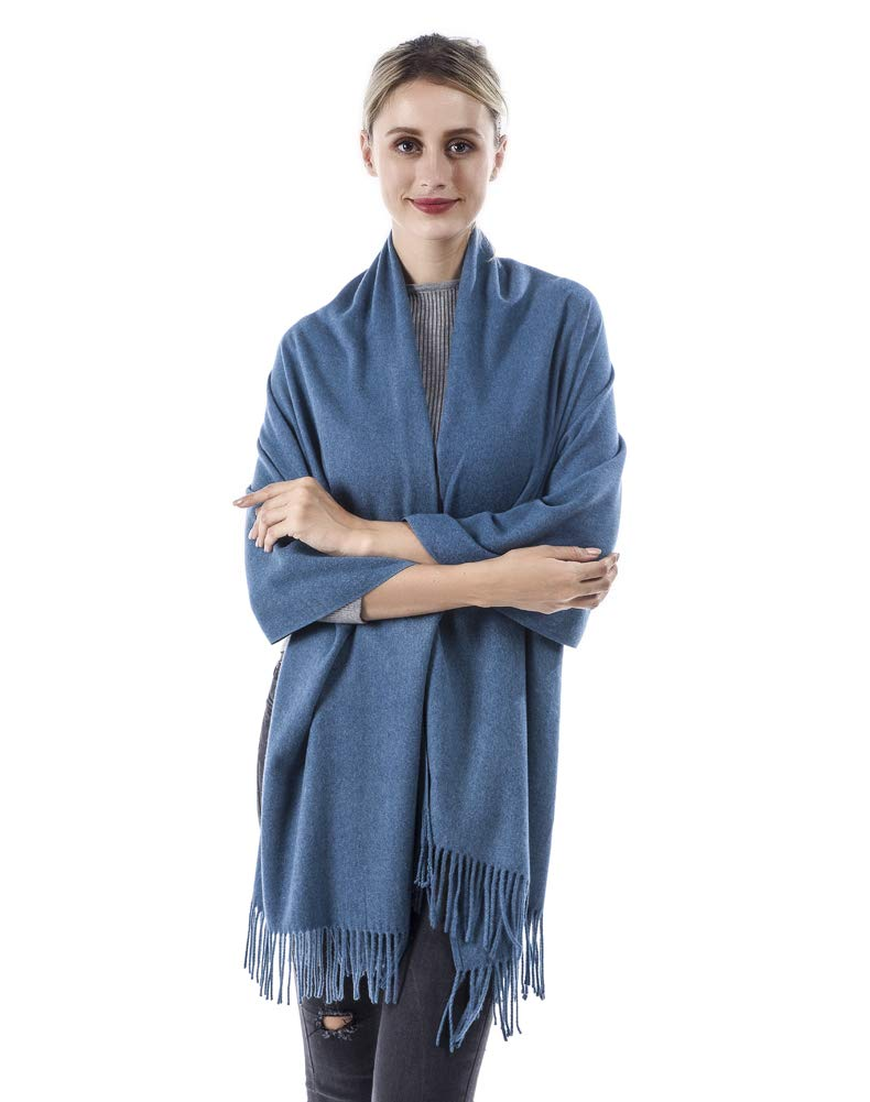 FANGYING Women's Soft Pure Color Pashmina Shawl Wrap Scarf Jean Blue