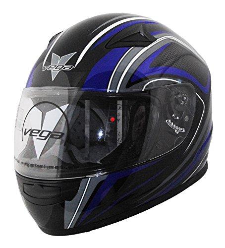 About Vega Helmets (Vega Mach 2.0 Jr Full Face Helmet with Tech Graphics (Blue, Large))