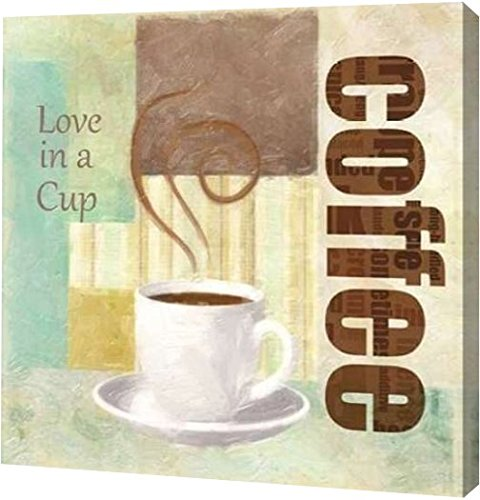 "PrintArt GW-POD-23-TG-SQ-169A-20x20 ""LOVE IN A CUP"" by Taylor Greene Gallery Wrapped Giclee Canvas Art Print, 20"" x 20"""