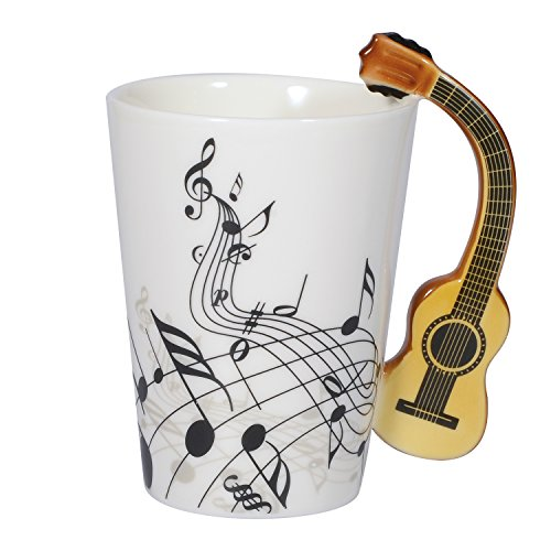 I-MART Musical Notes Design Ceramic Drink Tea Coffee Mug Cup (Acoustic Guitar)