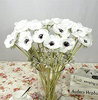 Amazon allstate floral craft anemone silk flower in cream 10pcs artifical real touch pu anemone flower bouquet room home decor white mightylinksfo