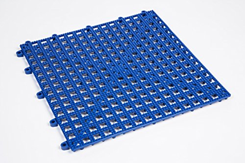 Dri-Dek Dog & Cat Kennel Cage Liner, Veterinarian or Groomer Flooring - 1'x1' Interlocking Tiles - 12-Pack (Blue)