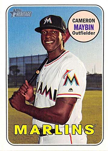 (2018 Topps Heritage High Number Baseball #628 Cameron Maybin Miami Marlins Official MLB Trading Card)