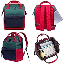 Canvas School Backpack, Waterproof College Laptop Bookbag, Wide Opening Large Capacity Big Student Bag, Multi-Functional Travel Backpack for Men and Women-Green/Red