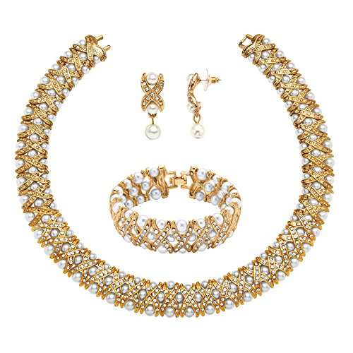 Lux White Simulated Pearl and Crystal Yellow Gold Tone 3-Piece Necklace, Earrings and Bracelet Set 18