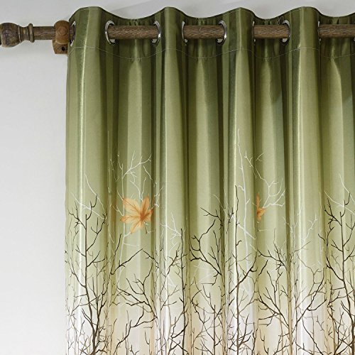 Anady top set of 2 panels pair drapes polyester green for Forest green curtains drapes