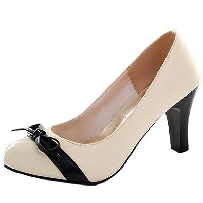 RAZAMAZA Damen Comfort Schnellverschluss Blockabsatz Pumps Schuhe