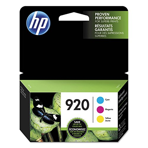 HP 920 Cyan, Magenta & Yellow Original Ink Cartridges, 3 Cartridges (CH634AN, CH635AN, CH636AN) for HP Officejet 6000 6500 7000 7500