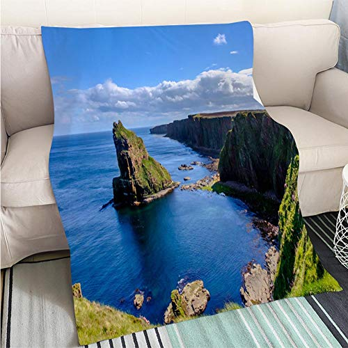 ract Home Decor Printing Blanket Stacks of Duncansby Large Jagged Rock Pinnacles Visible from The clifftop Path on Duncansby Head on Hypoallergenic Blanket for Bed Couch Chair ()