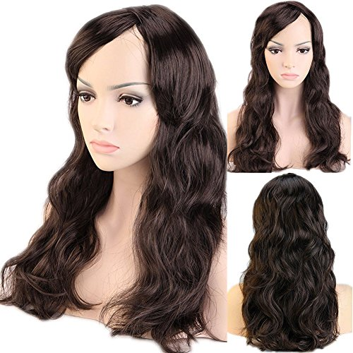 Halloween Date Party Costumes (#2 Dark Brown Curly Wavy Cosplay Synthetic Wig with Bangs Long 20 Styles Heat Resistant Fiber Vogue Layered 19'' / 19inch for Women Girls Lady Halloween Anime Costume Party Date)