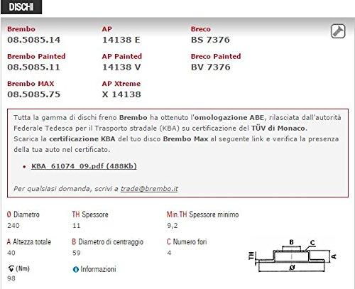 DISCHI FRENO E PASTIGLIE ANTERIORE BREMBO 08.5085.14 P23060